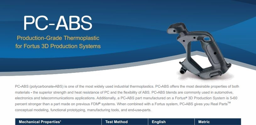 PC-ABS Spec Sheet